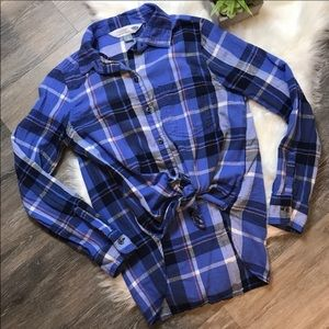 Old Navy Blue Plaid Flannel Button Down Shirt